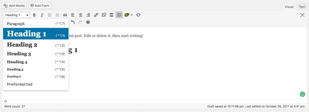 wordpress heading editor