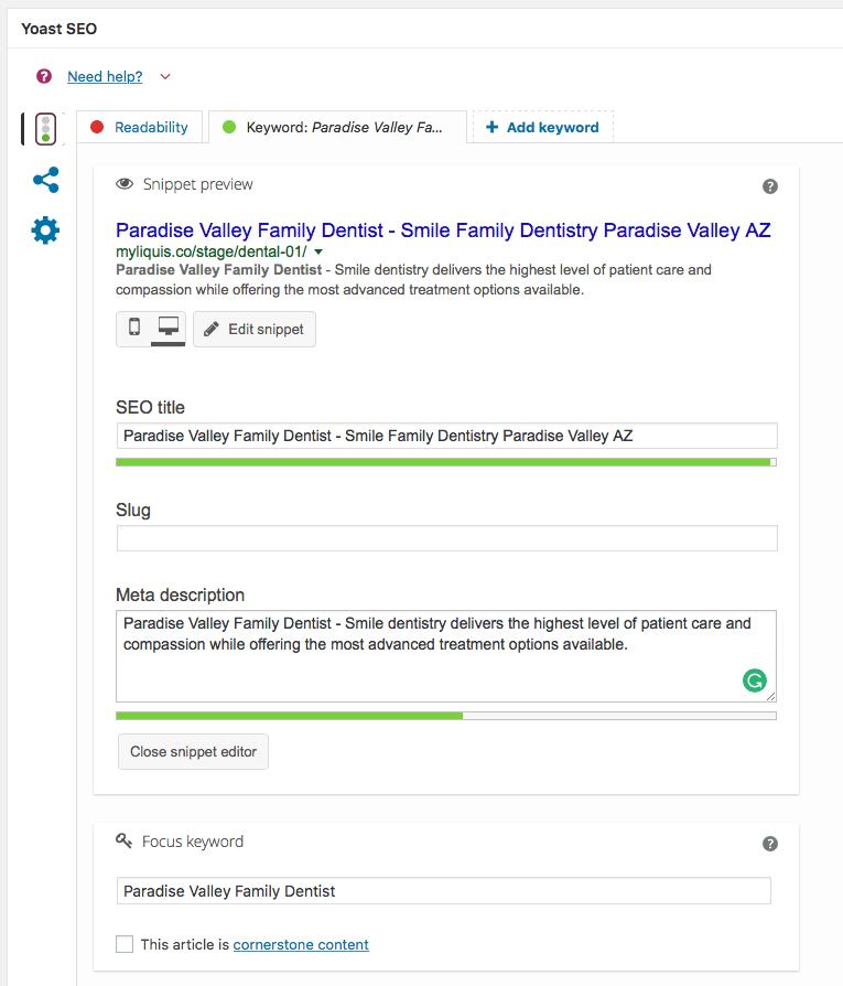yoast seo focused keyword results